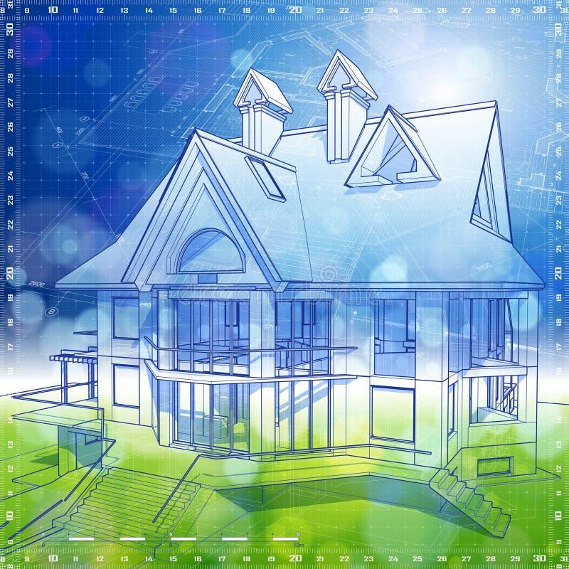 Projeto da arquitetura da ecologia: casa, plantas ilustração do vetor