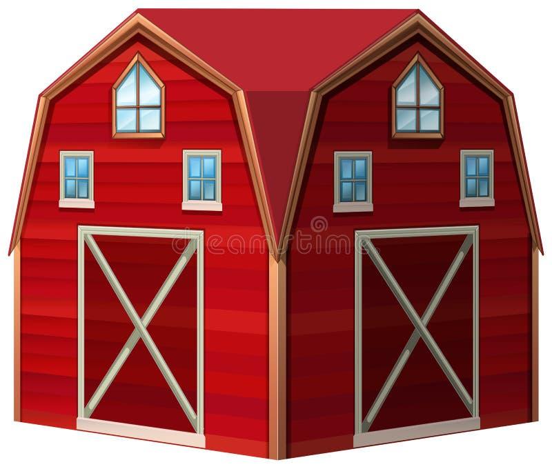 Projeto da arquitetura para o celeiro vermelho ilustração royalty free
