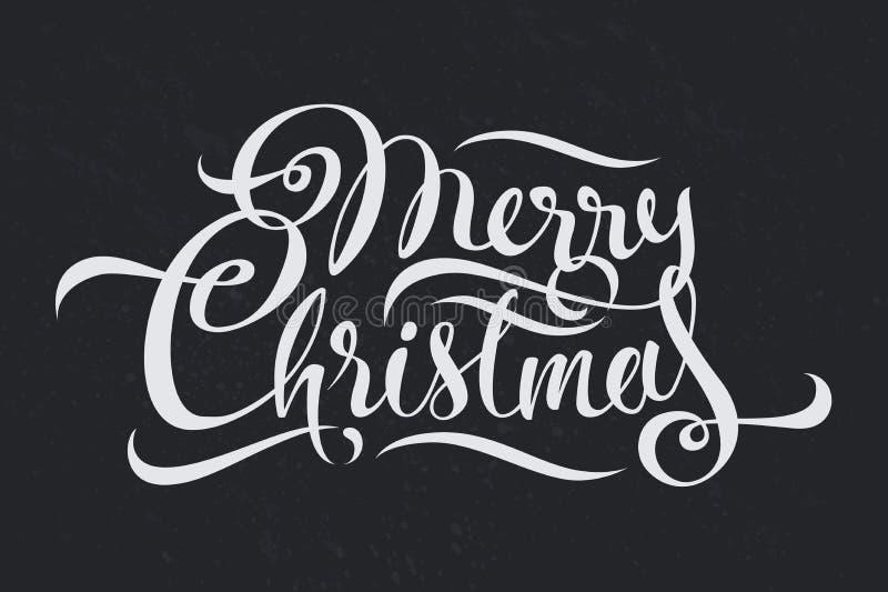 Projeto da arte do texto do vetor da caligrafia do Feliz Natal ilustração do vetor
