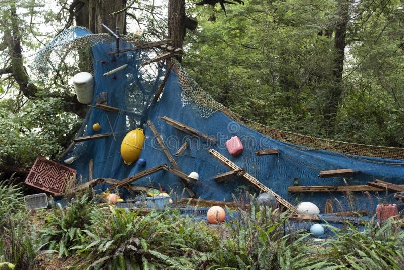 Projeto da arte do tsunami nos jardins botânicos de Tofino fotografia de stock