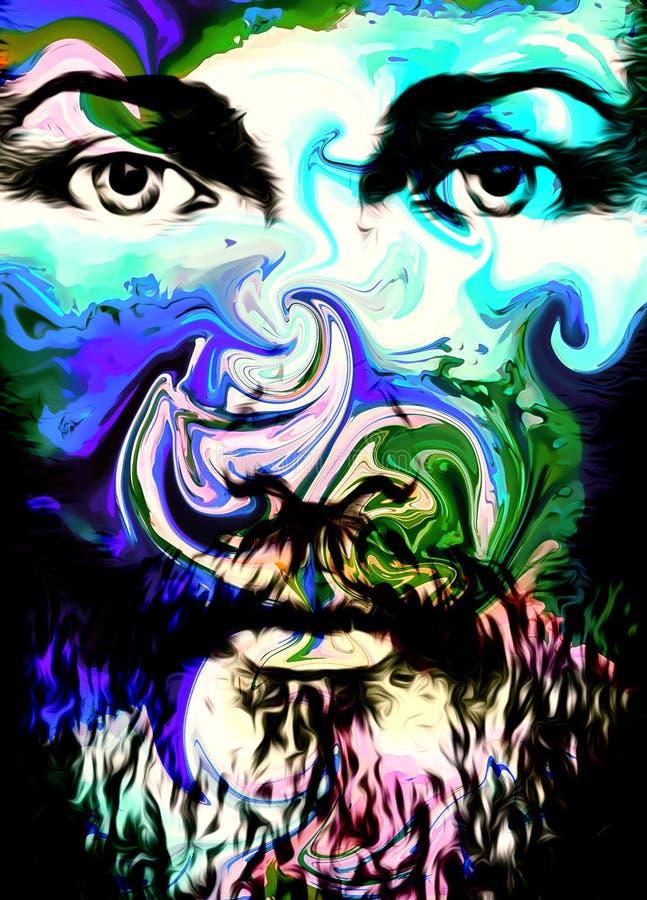 Projeto da arte gráfica, cara de Jesus Christ, versão da colagem do computador Contato de olho Conceito espiritual ilustração royalty free
