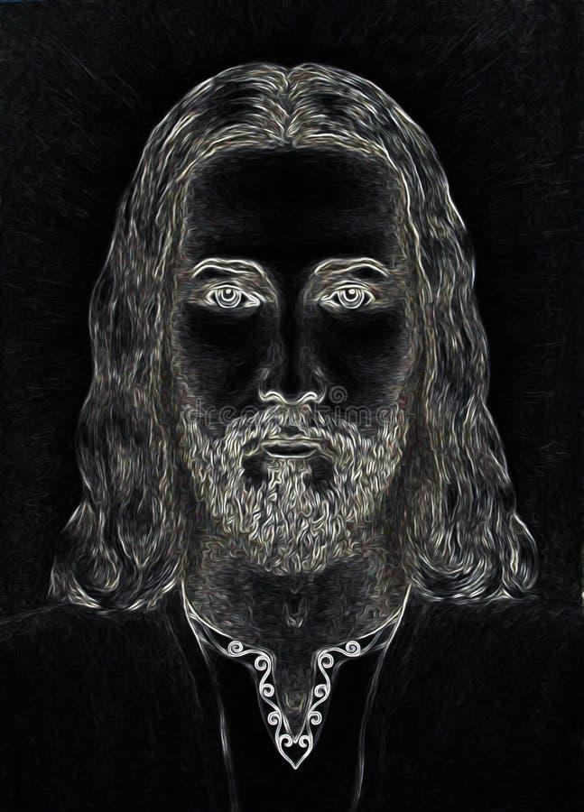 Projeto da arte gráfica, cara de Jesus Christ, versão da colagem do computador Contato de olho Conceito espiritual ilustração stock