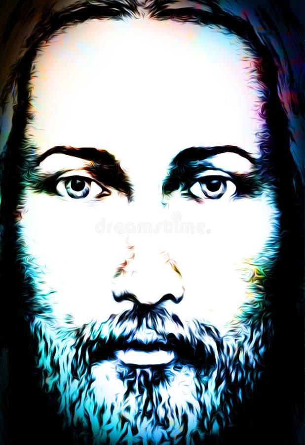 Projeto da arte gráfica, cara de Jesus Christ, versão da colagem do computador Contato de olho Conceito espiritual ilustração do vetor