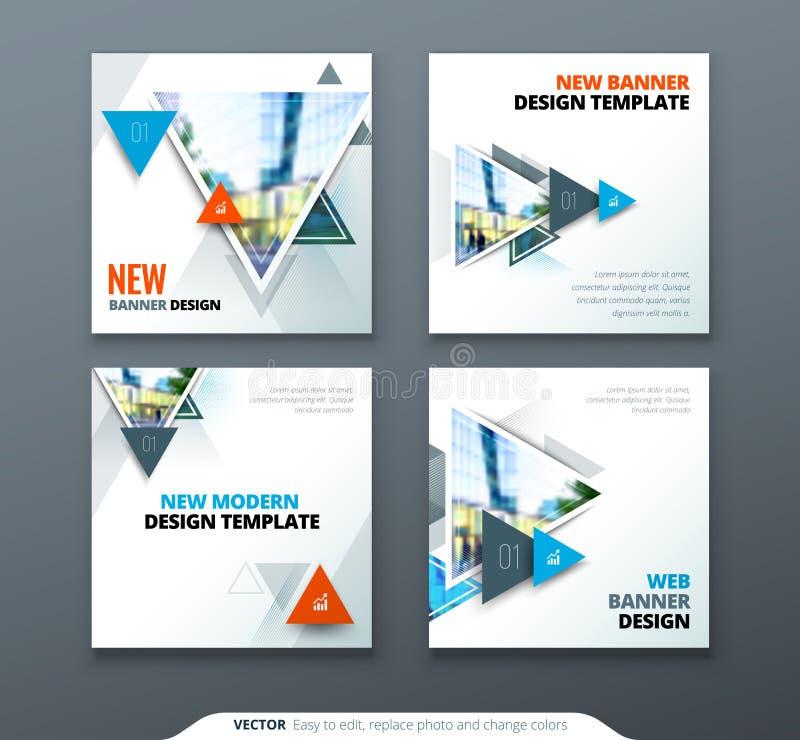 Projeto da bandeira A bandeira abstrata quadrada do vetor com triângulo dá forma para o molde da Web ilustração stock