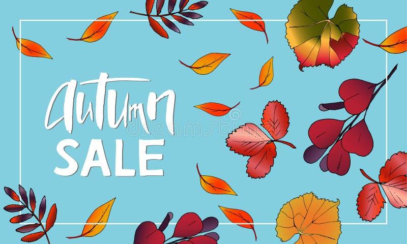 Projeto da bandeira Autumn Sale Lettering com folhas ilustração do vetor