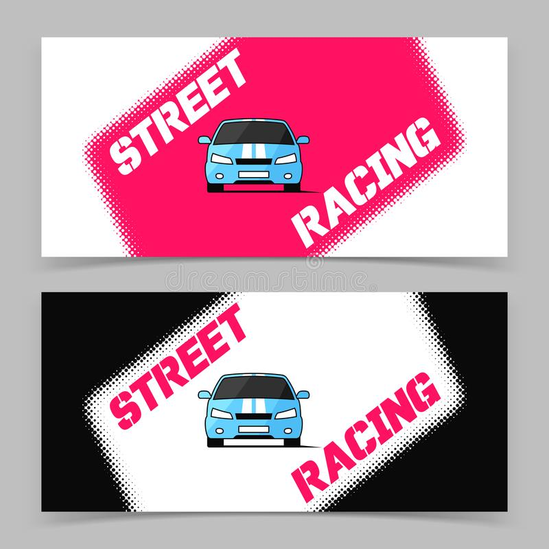 Projeto da bandeira com ícone do carro de competência da rua ilustração do vetor