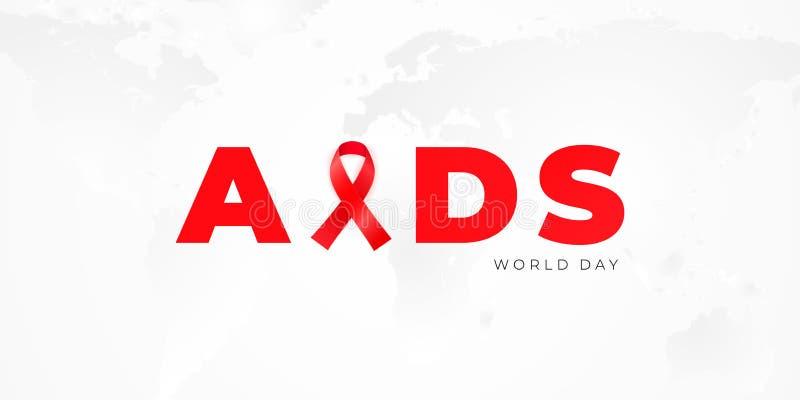 Projeto da bandeira com a fita vermelha da conscientização para a campanha de informação mundial sobre o SIDA ilustração do vetor