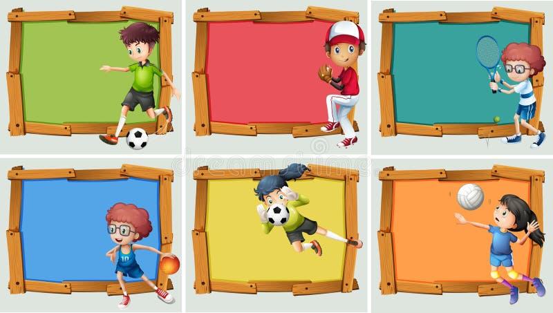 Projeto da bandeira com o atleta para muitos esportes ilustração stock