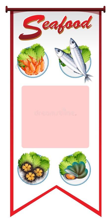 Projeto da bandeira com tipos diferentes de marisco ilustração do vetor
