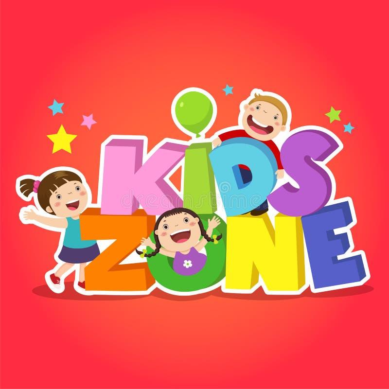 Projeto da bandeira da zona das crianças Área do campo de jogos das crianças ilustração stock