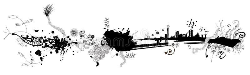 Projeto da bandeira de Grunge ilustração royalty free