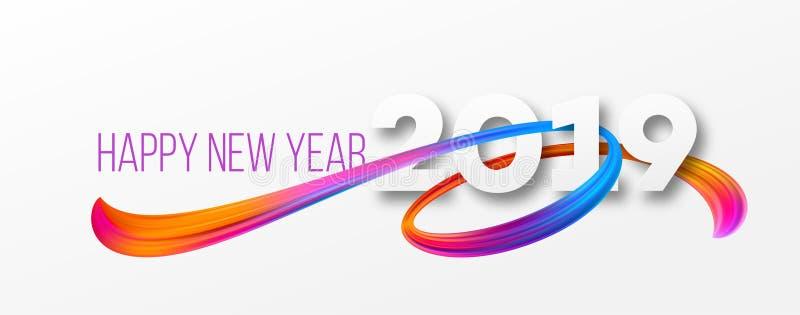 Projeto 2019 da bandeira do ano novo feliz ilustração stock