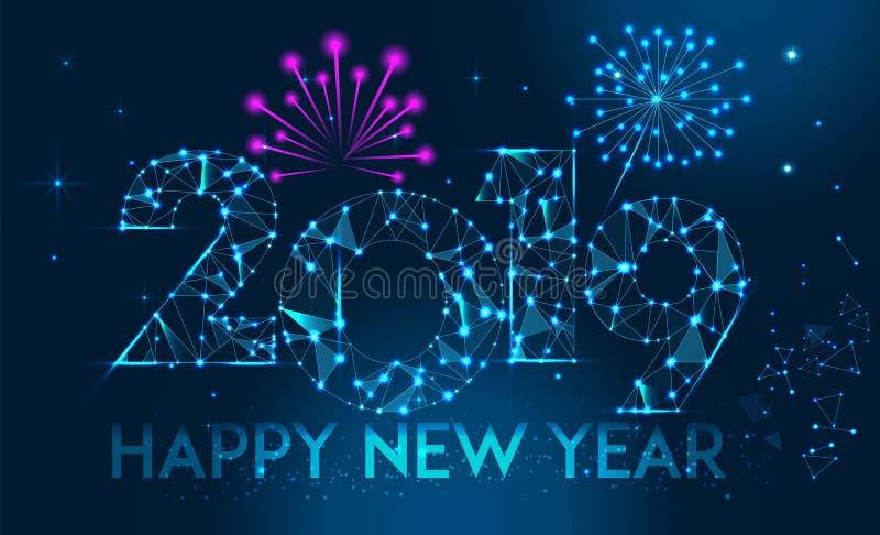 Projeto 2019 da bandeira do ano novo feliz Cartão poligonal geométrico do ano 2019 novo Fundo dos fogos-de-artifício do vetor ilustração royalty free