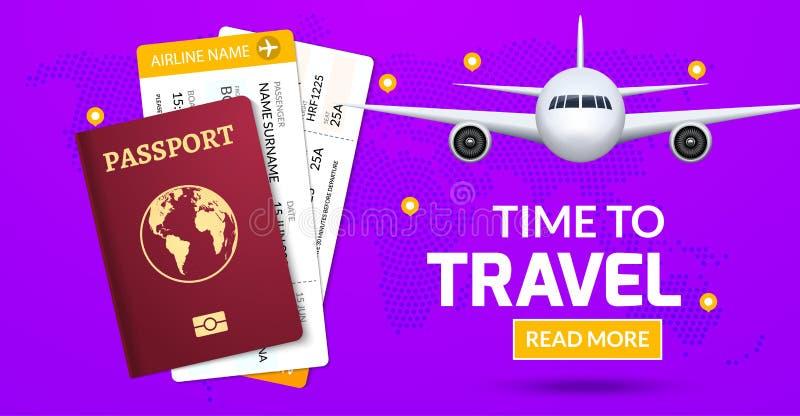 Projeto da bandeira do curso Conceito da oferta da viagem das férias Vector a ilustração do turista com passaporte, bilhete, aviã ilustração do vetor