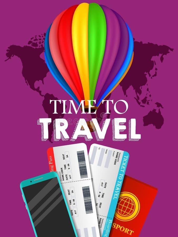 Projeto da bandeira do curso Conceito da oferta da viagem de negócios das férias Vector a ilustração do turista com passaporte, b ilustração stock