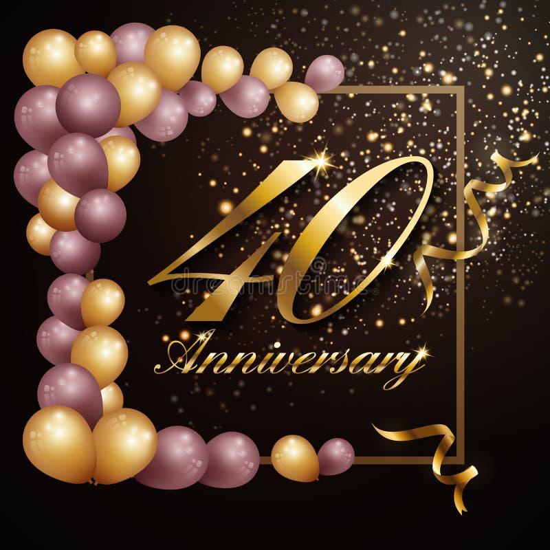 projeto da bandeira do fundo da celebração de um aniversário de 40 anos com decoração luxuosa ilustração royalty free
