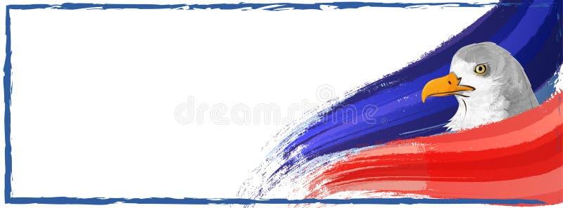 Projeto da bandeira do Web site com a águia americana no strok vermelho e azul da onda ilustração do vetor