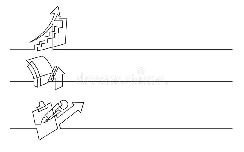 Projeto da bandeira - a lápis desenho contínuo de ícones do negócio: carta de aumentação, símbolo do crescimento, analítica ilustração royalty free