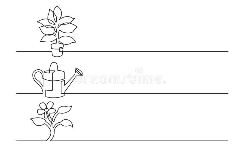 Projeto da bandeira - a lápis desenho contínuo de ícones do negócio: planta da casa, lata molhando, flor ilustração do vetor