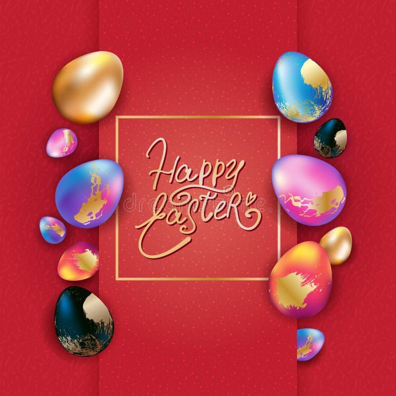 Projeto da bandeira da Páscoa com ovos coloridos ilustração stock