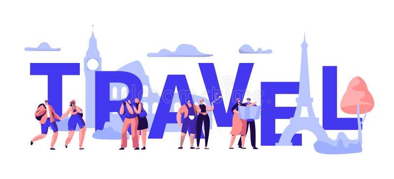 Projeto da bandeira da tipografia do negócio da excursão do curso do mundo Promoção internacional da oferta da venda da viagem do ilustração royalty free