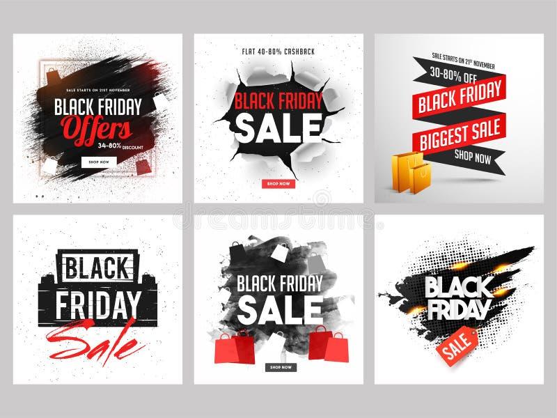 Projeto da bandeira da venda de Black Friday com teste padrão rasgado e g abstrato ilustração do vetor