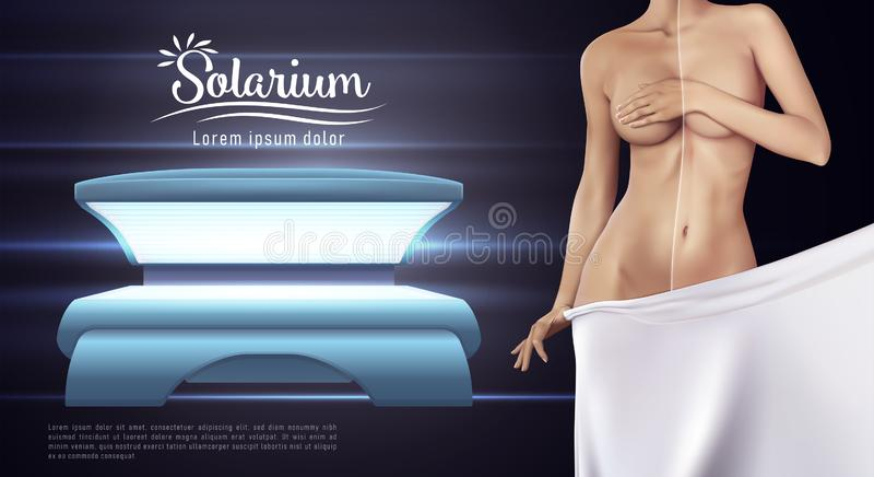 Projeto da bandeira da Web do solário Ilustração do vetor do conceito dos cuidados com a pele ilustração royalty free