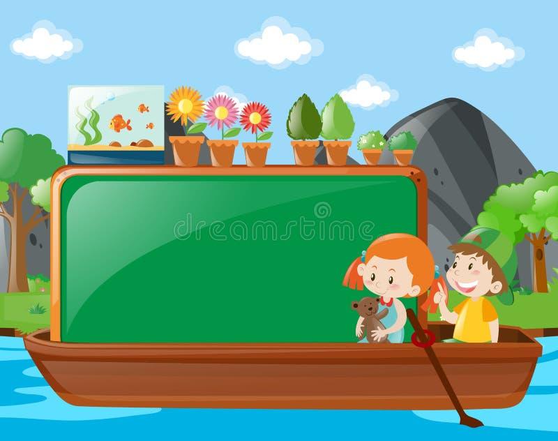 Projeto da beira com as crianças no barco ilustração stock