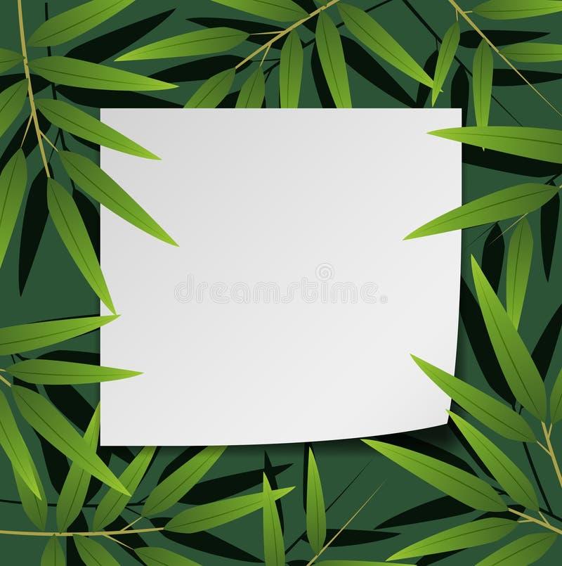 Projeto da beira com folhas de bambu ilustração stock