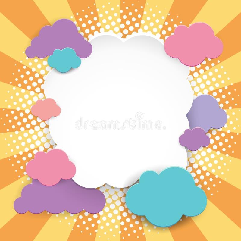 Projeto da beira com nuvens coloridas ilustração royalty free