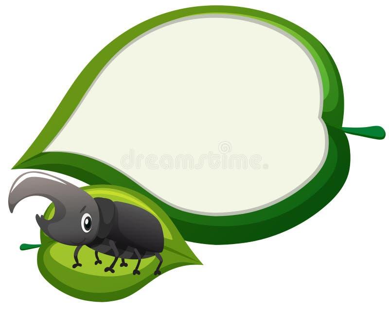 Projeto da beira com o besouro na folha ilustração do vetor