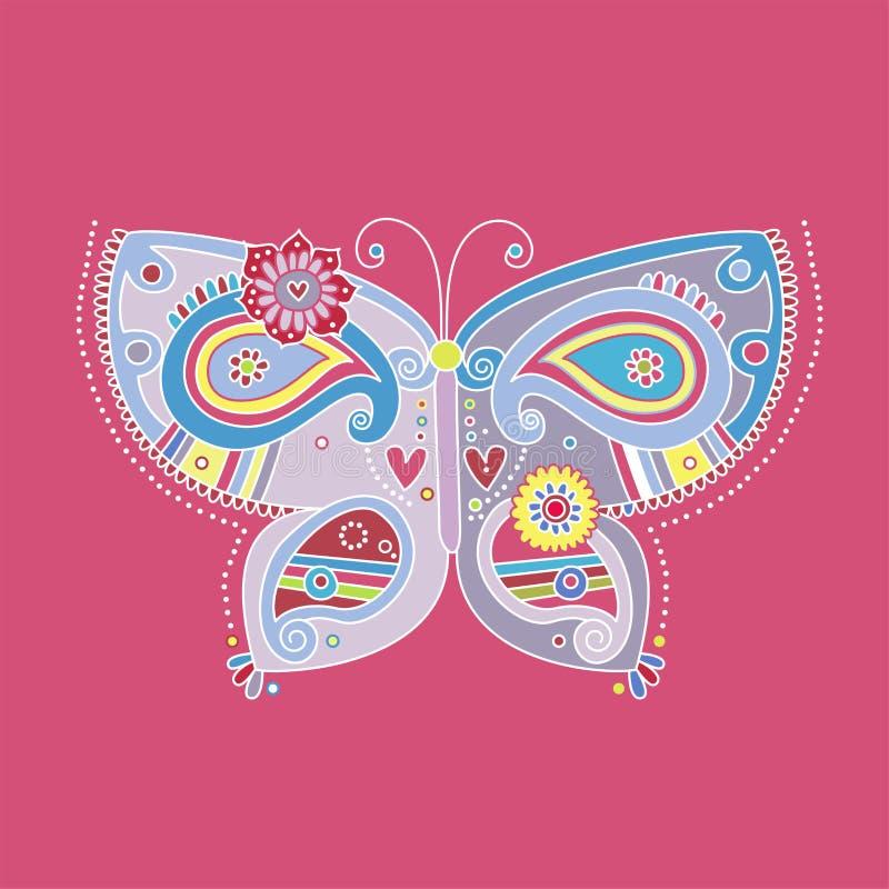 Projeto da borboleta de Paisley com detalhes elegantes ilustração do vetor