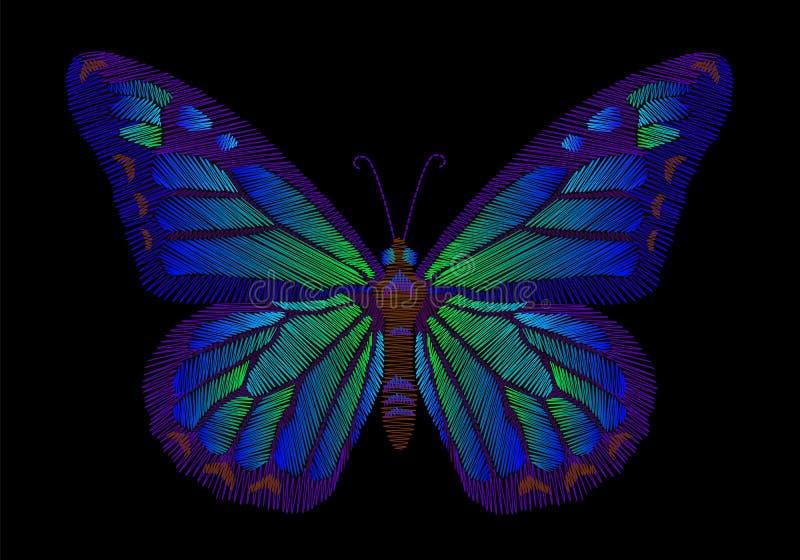 Projeto da borboleta do bordado para a roupa decoração do vetor de inseto ilustração royalty free