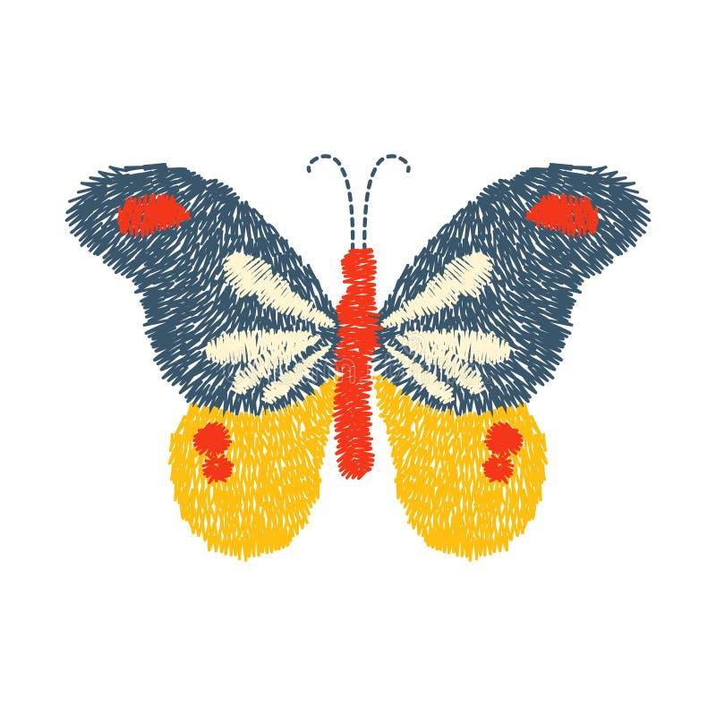 Projeto da borboleta do bordado para a roupa vetor de inseto isolado ilustração stock