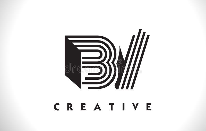 Projeto da BV Logo Letter With Black Lines Linha vetor Illus da letra ilustração royalty free