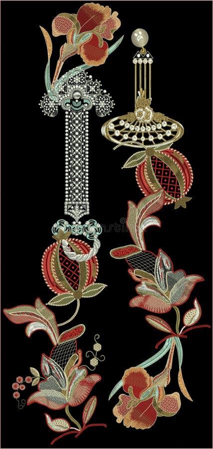 Projeto da cópia de matéria têxtil de Motitf do bordado para a arte de Mughal Illustrat, ilustração ilustração stock
