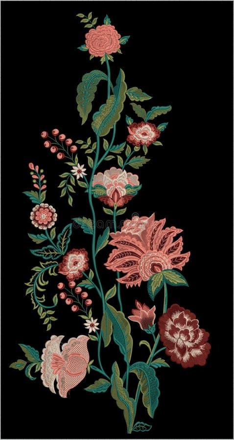 Projeto da cópia de matéria têxtil de Motitf do bordado para a arte de Mughal Illustrat, ilustração ilustração do vetor