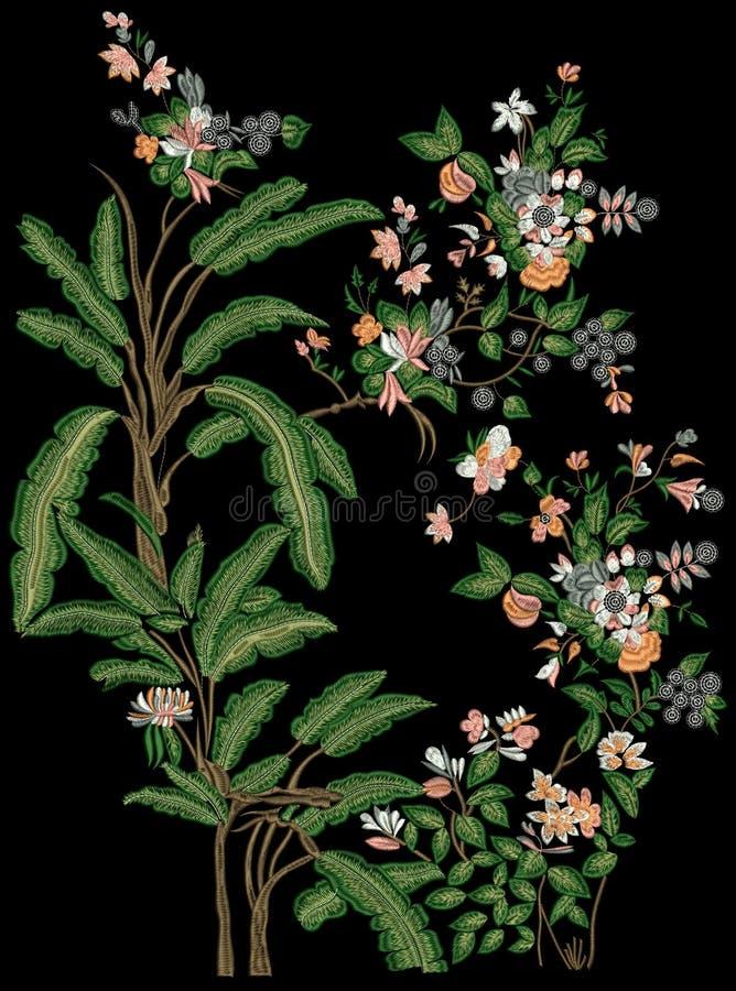 Projeto da cópia de matéria têxtil de Motitf do bordado para a arte de Mughal Illustrat, ilustração imagens de stock