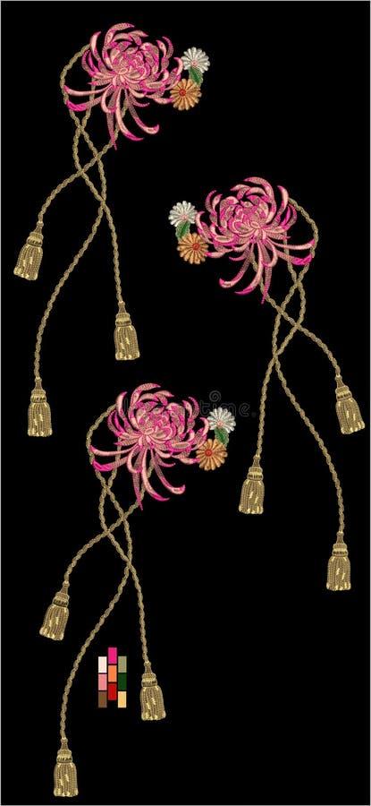 Projeto da cópia de matéria têxtil de Motitf do bordado para a arte de Mughal ilustração stock