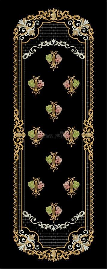 Projeto da cópia de matéria têxtil de Motitf do bordado para a arte de Mughal ilustração do vetor