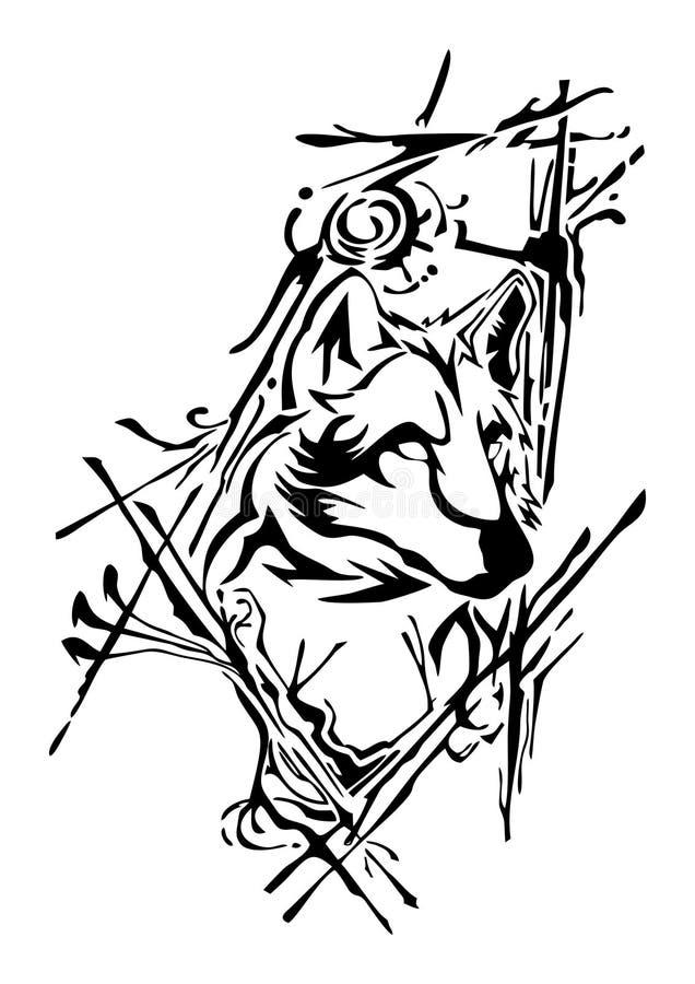 Projeto da cabeça do lobo da silhueta com respingo da tinta para a tatuagem ilustração do vetor