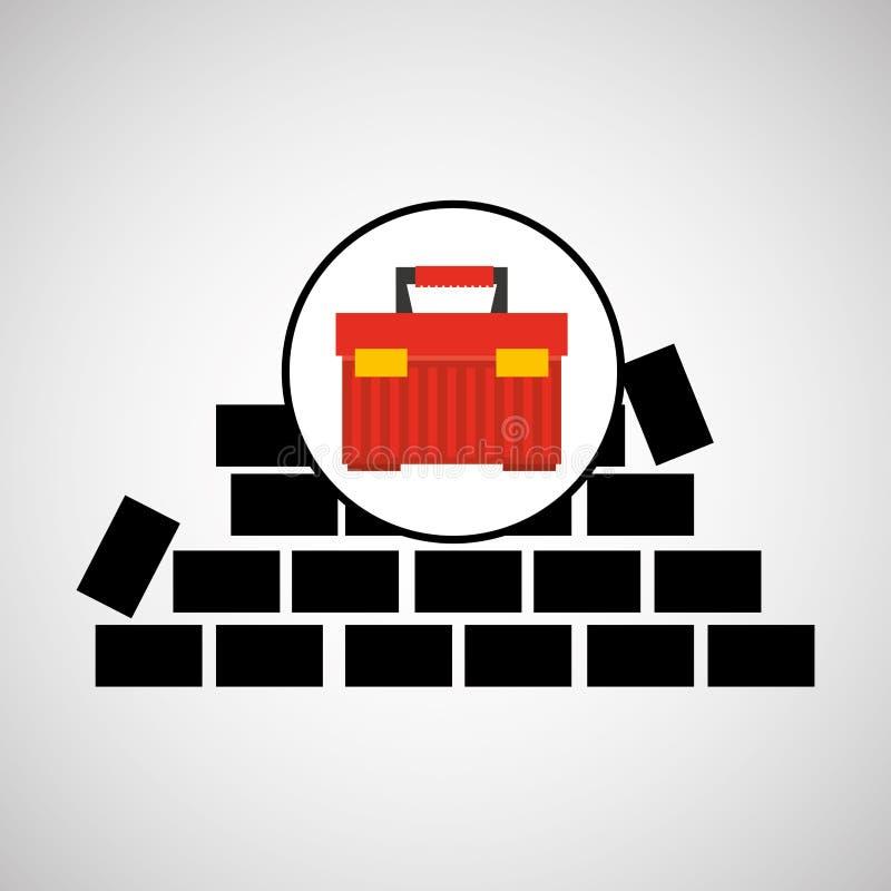 Projeto da caixa de ferramentas do tijolo da parede ilustração stock