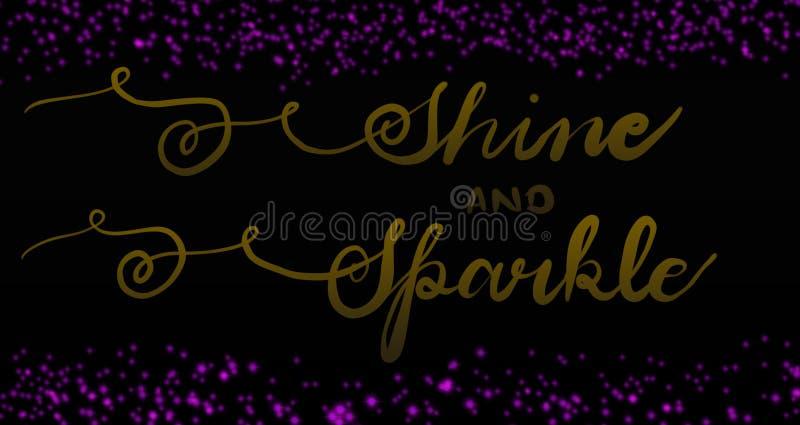 Projeto da caligrafia do cartão tirado mão do brilho & da faísca Projeto de brilho vibrante Brilho cor-de-rosa para cartões & cum ilustração royalty free