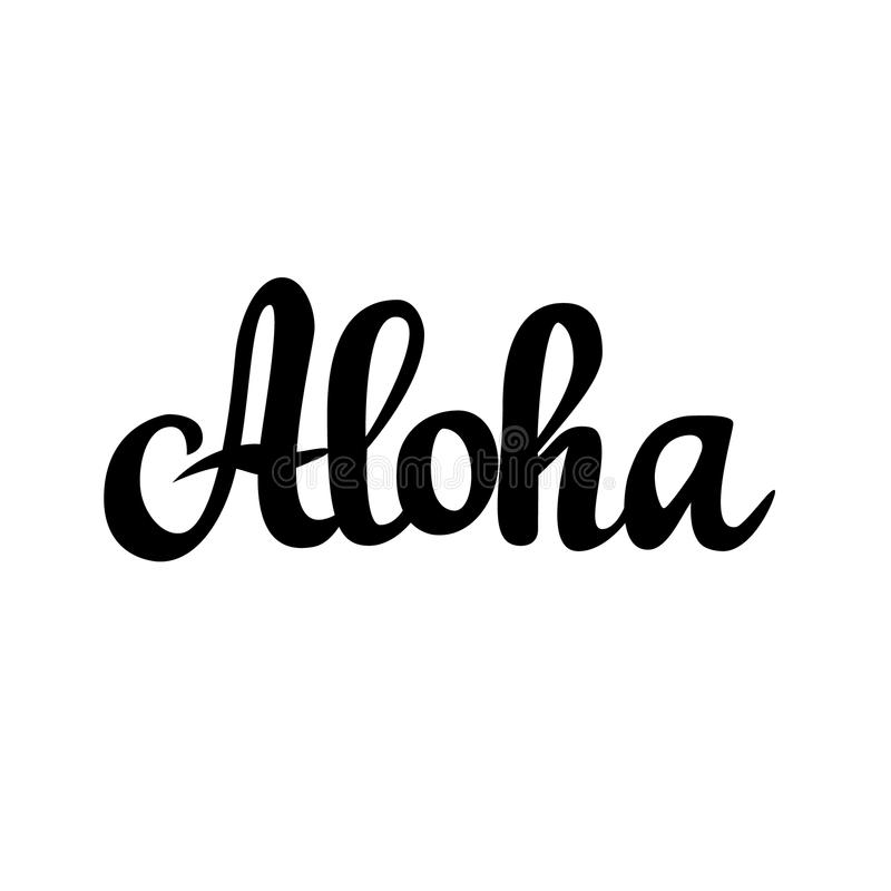 Projeto da caligrafia do vetor do cumprimento de Aloha Hawaiian ilustração do vetor
