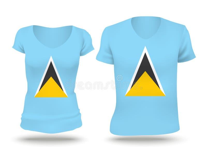 Projeto da camisa da bandeira de St Lucia ilustração do vetor