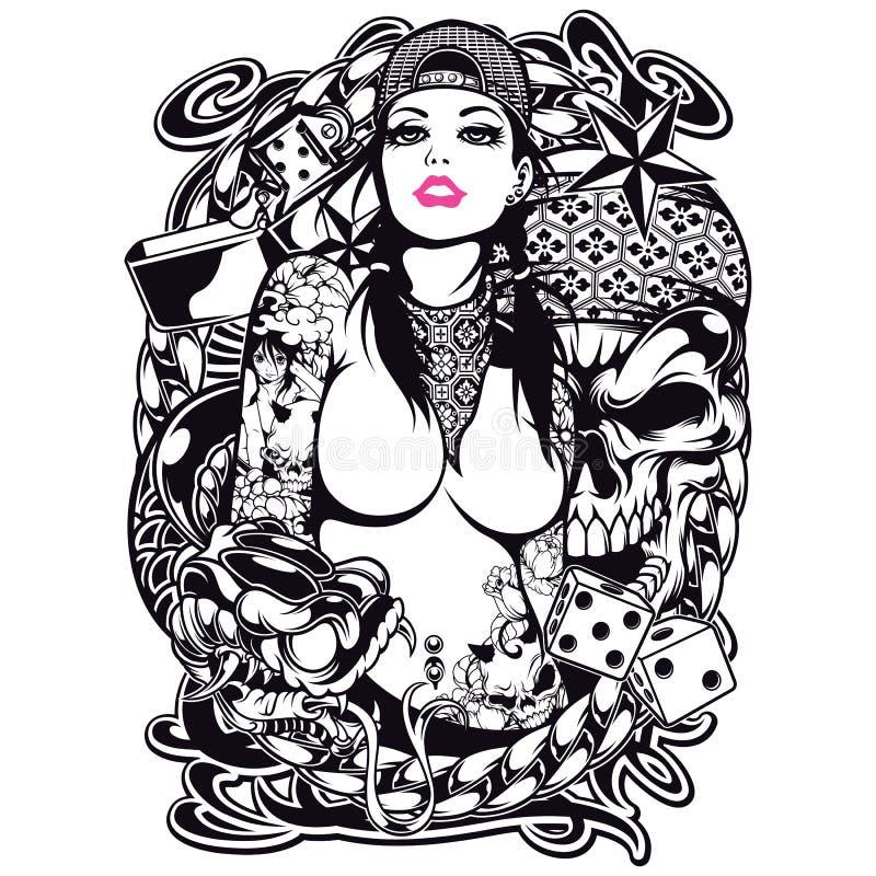 Projeto da camisa da menina da tatuagem ilustração do vetor