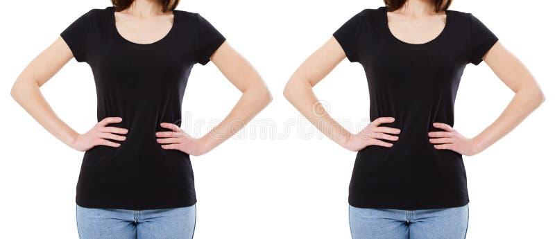 Projeto da camisa de T e conceito dos povos - close up da jovem mulher no t-shirt preto vazio, na parte dianteira e na camisa tra fotografia de stock royalty free