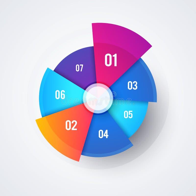 Projeto da carta de torta do círculo do vetor, molde moderno de Infographic para apresentações e relatórios ilustração royalty free