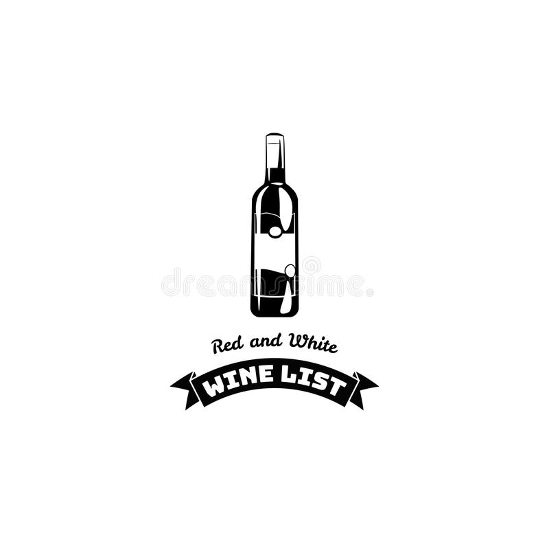 Projeto da carta de vinhos para a barra e o restaurante Ícone do bootle do vinho Ilustração do vetor ilustração stock