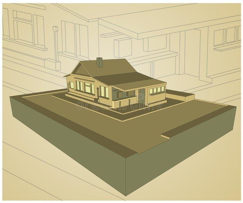 Projeto da casa do bungalow ilustração do vetor
